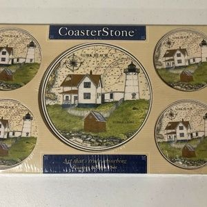 Nubble Lighthouse Coaster & Trivet Set York Beach